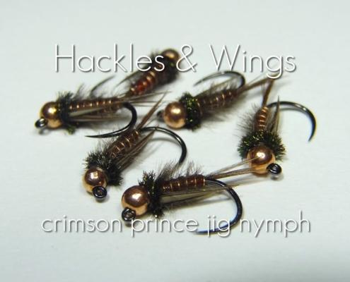 Fly-Tying-Crimson-Prince-Jig-Nymph-Hackles-Wings