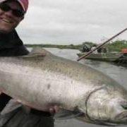 King-Salmon-on-the-fly-at-Alaska-West-Camp-Kanektok-River