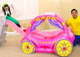 Emma-Learn-Colors-Pretend-Play-with-Pink-Kids-Slide-and-Princess-Carriage-Inflatable-Toy
