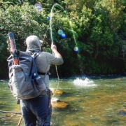Fly-Fishing-for-Trout-River-Monster-Tries-to-eat-catch-and-bites-angler